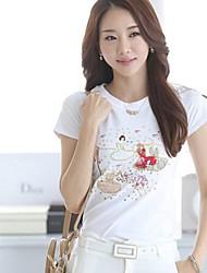 De cuello redondo de la Mujer de manga corta Mujer T-shirt