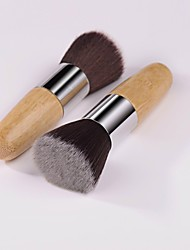 High Quality 1PCS Exquisite Flat Natural Bamboo Handle Foundation Brush