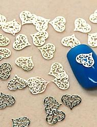 200шт полый кружева форме сердца кусочек металла украшение искусства ногтя