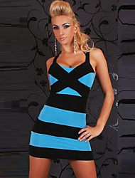 Girls Night Women's Color Block Blue / Pink / White Dresses , Sexy / Casual / Party Mid Rise Sleeveless