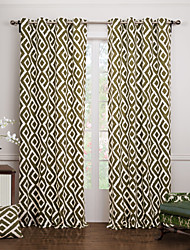 Two Panels Modern Geometric Green Bedroom Cotton Panel Curtains Drapes
