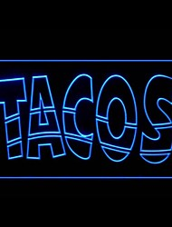 Tacos Food Promotion Green Blue Red White Orange Purple Yellow Advertising LED Light Sign