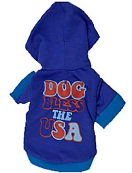 Cute USA Pattern American Style with Hoodie Cotton T-Shirt for Pets Dogs(Assorted Size,Assorted Color)