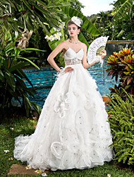 Ball Gown Wedding Dress - Ivory Court Train V-neck Organza