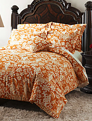 2 Piece - Country Orange And White Floral Comforter Set