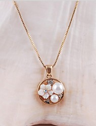 Women's Fashion Alloy Gold Rhodium Plated and Pearl Shell Flower Necklace
