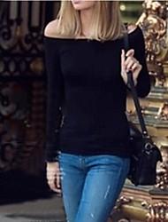 Women's Solid White/Black/Gray T-shirt , Off Shoulder Long Sleeve