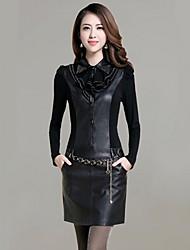 luto neue Herbst 2014 koreanische Art slim fit langen Ärmeln Kleid pu