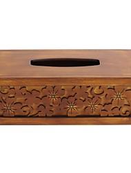 estilo chinês do vintage caixa de tecido cor de trevo de quatro folhas de madeira entalhada à mão