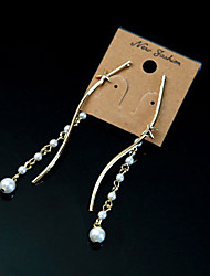 MIKI Diamonte Pearl Long  Earrings