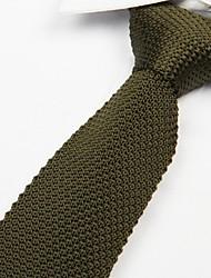 exército cor sólida gravata moda verde dos homens de malha