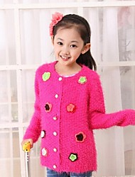 Girl's Floral Sweater & Cardigan / Jacket & Coat,Wool Blend Winter / Spring / Fall Black / Pink / Yellow