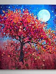 pétrole arbres peinture de paysage peint à la main en rêve avec cadre étiré