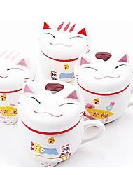 gato taza de café de cerámica suerte con tapa color al azar, 9.5x8x11cm