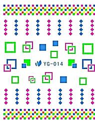 yemannvyou®2pcs Красочный площади комбинация Nail Art флуоресцентный водяные знаки наклейки Юг-014