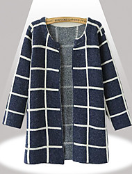 Yinbo Winter Women's Check Print Knitting Cardigan