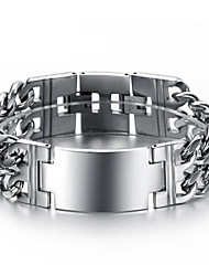 Exaggerated Classic Smooth Double Man Wide Thick Titanium Steel Bracelet