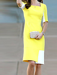 Ivan Women's Square Contrast Color Bodycon Short Sleeve Dress