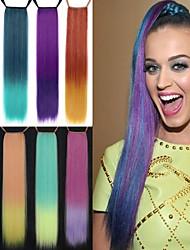 excelente qualidade sintética de 24 polegadas reta longa peruca gradiente fita rabo de cavalo - 8 cores disponíveis