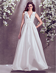 Lanting A-line Plus Sizes Wedding Dress - Ivory Floor-length V-neck Taffeta