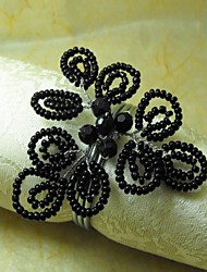 Preto Beads Guardanapo Ring, GlassBeades, 4cm, conjunto de 12,