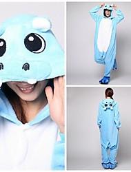 Cute Blue Hippo Adult Coral Fleece Kigurumi Pajamas Animal Sleepwear
