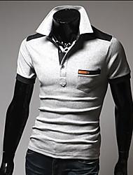 Tizeland Men's Lapel Neck Contrast Color Short Sleeve T-Shirt