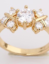 Women's New Fashion 18K Gold Plated Flower Shape Design Zircon Ring J28624