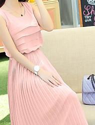 Women's Plus Sizes Solid Swing Dress , Round Neck Maxi Chiffon