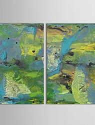Peint à la main peinture à l'huile abstraite et Montagnes Rivières avec Set cadre tendu de 2