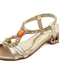 Patent Leather Women's Chunky Heel Peep Toe  With Rhinestone Shoes (More Colors)