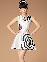 Women's Vest Skirt Round Collar Printed Dress