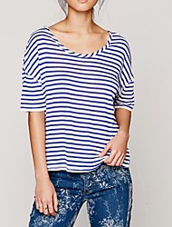 Women's Striped Multi-color T-shirt , Round Neck Short Sleeve Backless