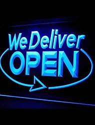 Nous livraison Open Business Promotion Bleu Vert Rouge Blanc Orange Violet Jaune Publicité LED Connexion