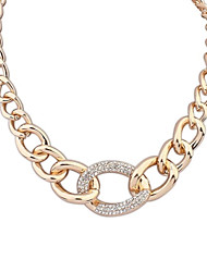Women's European America Punk Style Rhinestone Concise Alloy Thick Chain Necklace (1 pc)