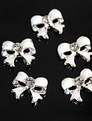 10pcs bonito branco diamante bowknot 3d liga nail art decoração