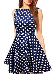 Women's Bateau Polka Dots Loose Big Swing Above Knee Plus Size Dress