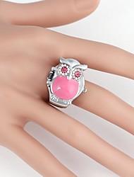 Hibou mignon de caisse en métal de quartz analogique montre d'anneau de femmes (1pc)