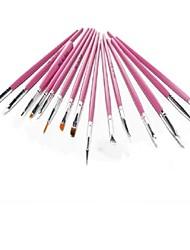 15 pcs Nail Art Design Pintura escovas polonês que pontilham caneta ferramenta manicure pedicure desenho setrose cor vermelha e branca