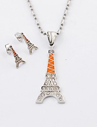 Fashion Titanium Steel Eiffel Tower Diamonte Necklaces and Earrings Jewelry Sets