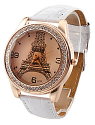 Mulan PU Leather Women Dress Watch with Rhinestone-3 (White)