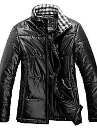 Men's Regular Parka Coat , Cotton Blend/Polyester Pure Long Sleeve