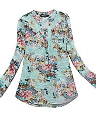 Women's v Neck Flower Pattern Printing Shirt Translation