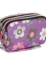 Purple Flower Geldbörse Drei Reißverschlüsse Cosmetic Bag