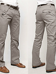 Fxfs Solid Color Straight Cotton Casual Long Pants
