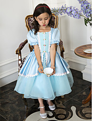 Ball Gown Tea-length Flower Girl Dress - Satin Short Sleeve Scoop with Appliques / Bow(s)