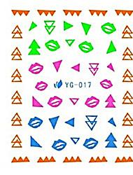 yemannvyou®2pcs красочные треугольник&губы сочетание искусства ногтя люминесцентные водяные знаки наклейки Юг-017