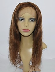Glueless Front Lace  Wig Natural Wave 16Inch Premium Remy Human Hair Color 4 Highlighted With 27