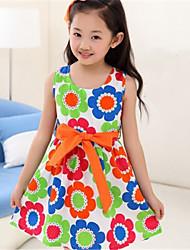 bb&b estampado floral vestido de princesa medio del verano del nuevo algodón 2014 de la muchacha