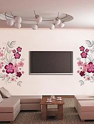 Createforlife® Pink Floral Patterns Kids Nursery TV Room Wall Sticker Wall Art Decals
